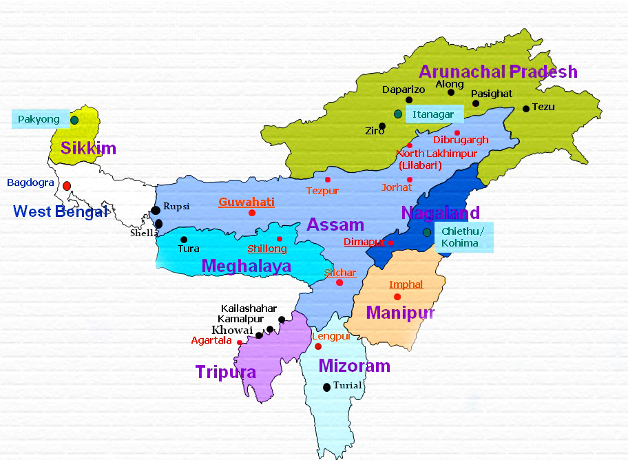 North East India Map 2 India Blog